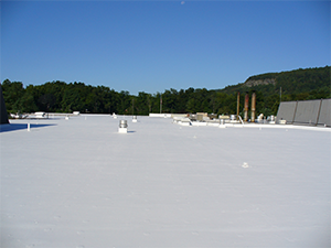 An industrial facility with a coated roof