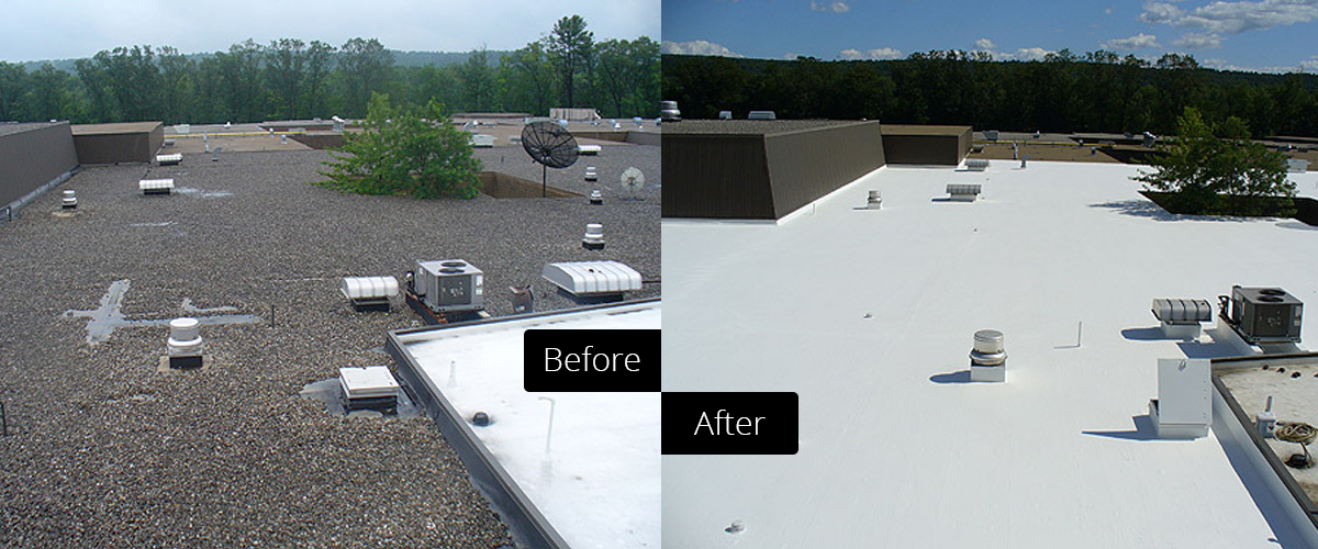 Before and after comparison of a commercial roof coating job with fluid applied membrane