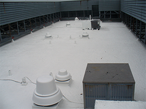 after rubber coating was applied on a commercial flat top roof