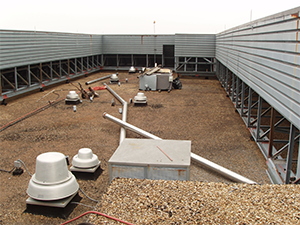 before rubber coating was applied on a commercial roof