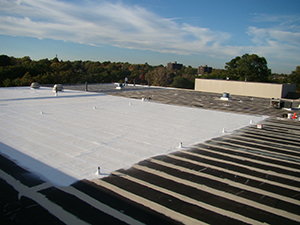 Roof coating on an industrial building