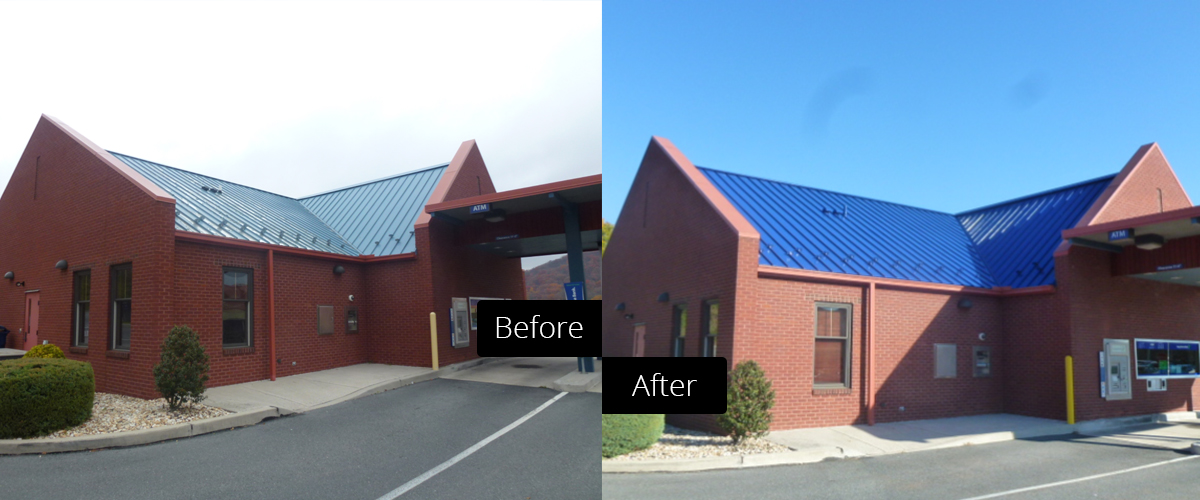 Before and after comparison of a roof coating job at a bank