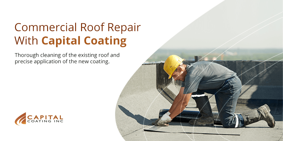 A man repairs a commercial flat roof